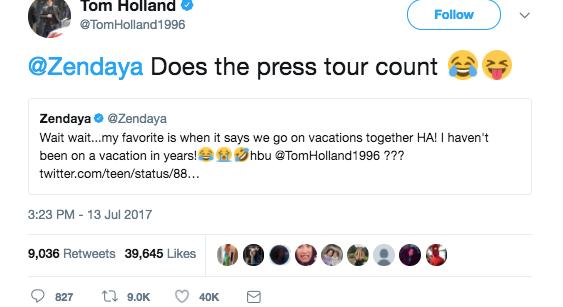 tom zendaya dating tweet