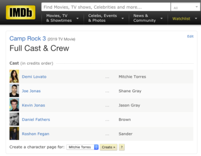 camp rock 3 imdb page