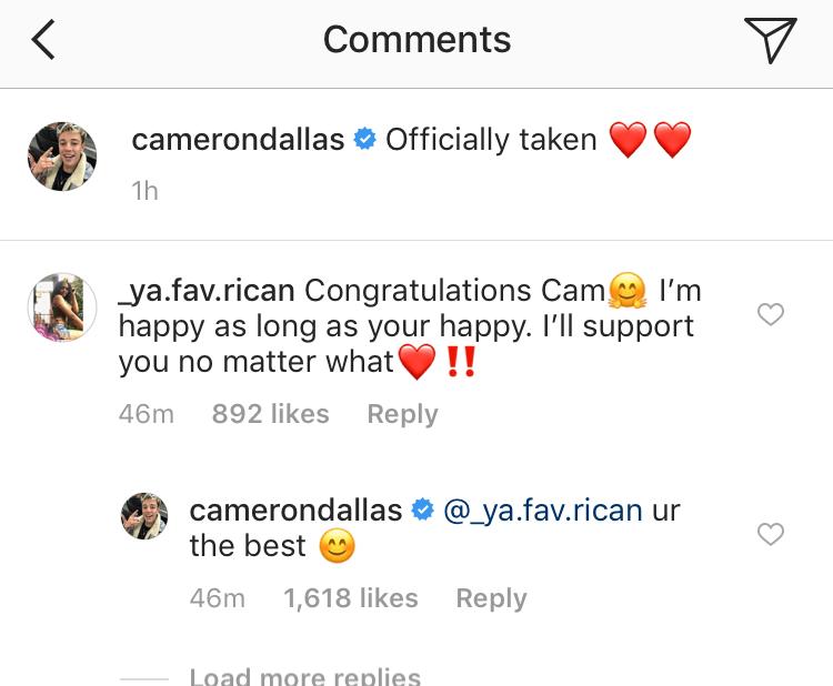 cameron dallas instagram fan comments