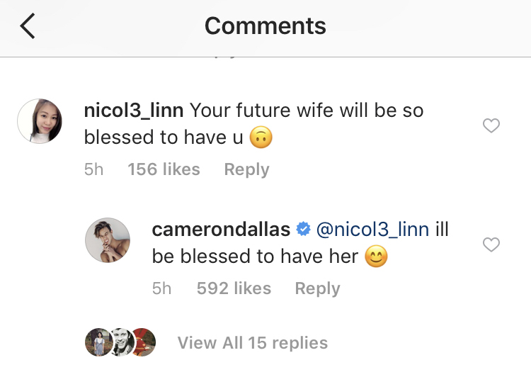 cameron dallas wife instagram comment