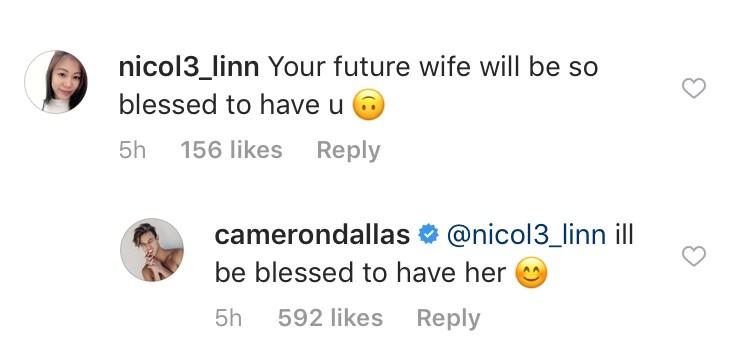 cameron dallas wife instagram comment