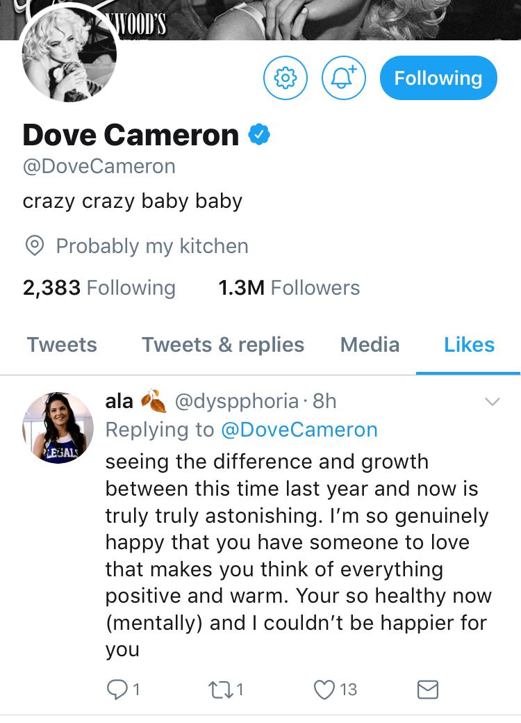 dove cameron liked tweet