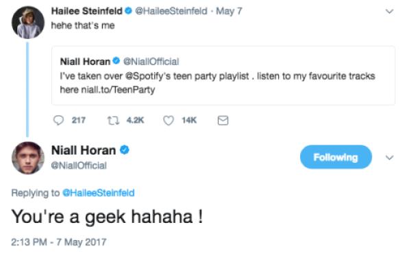 niall horan tweets hailee steinfeld