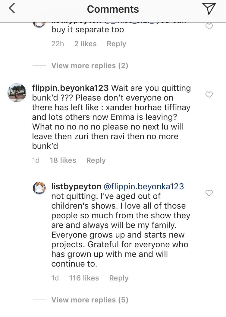 peyton list instagram comment