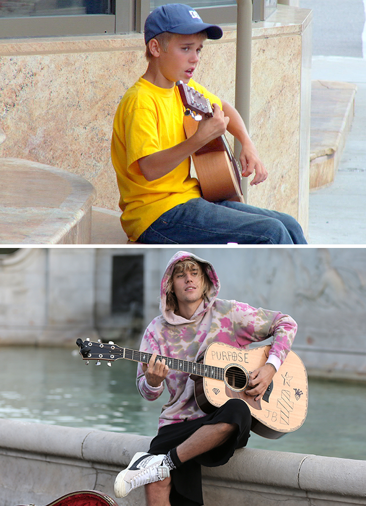 justin bieber singing then and now