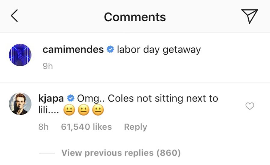kj apa instagram comment