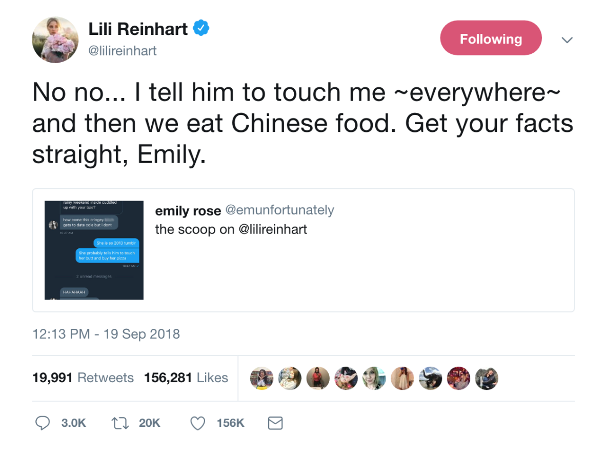 lili reinhart drags fan tweet