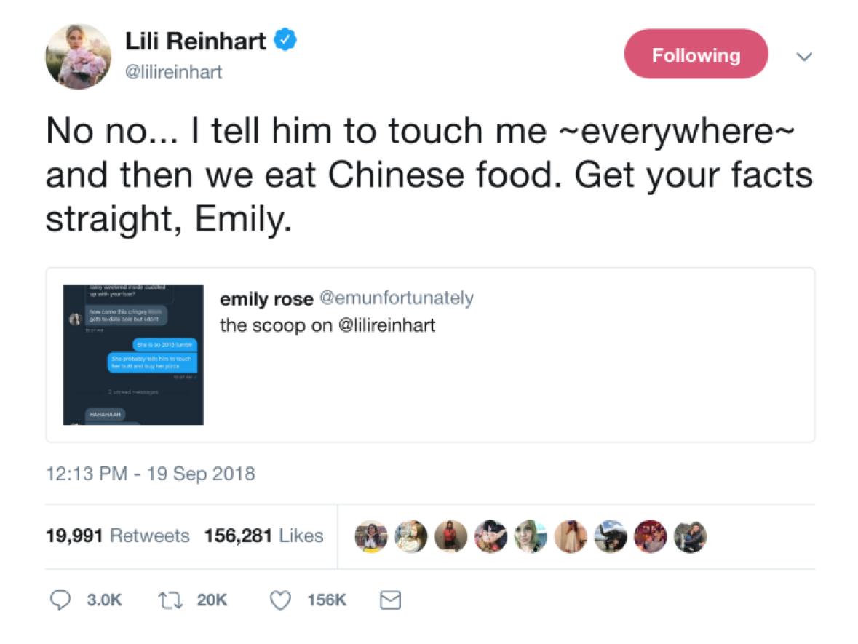 lili reinhart drags fan tweet