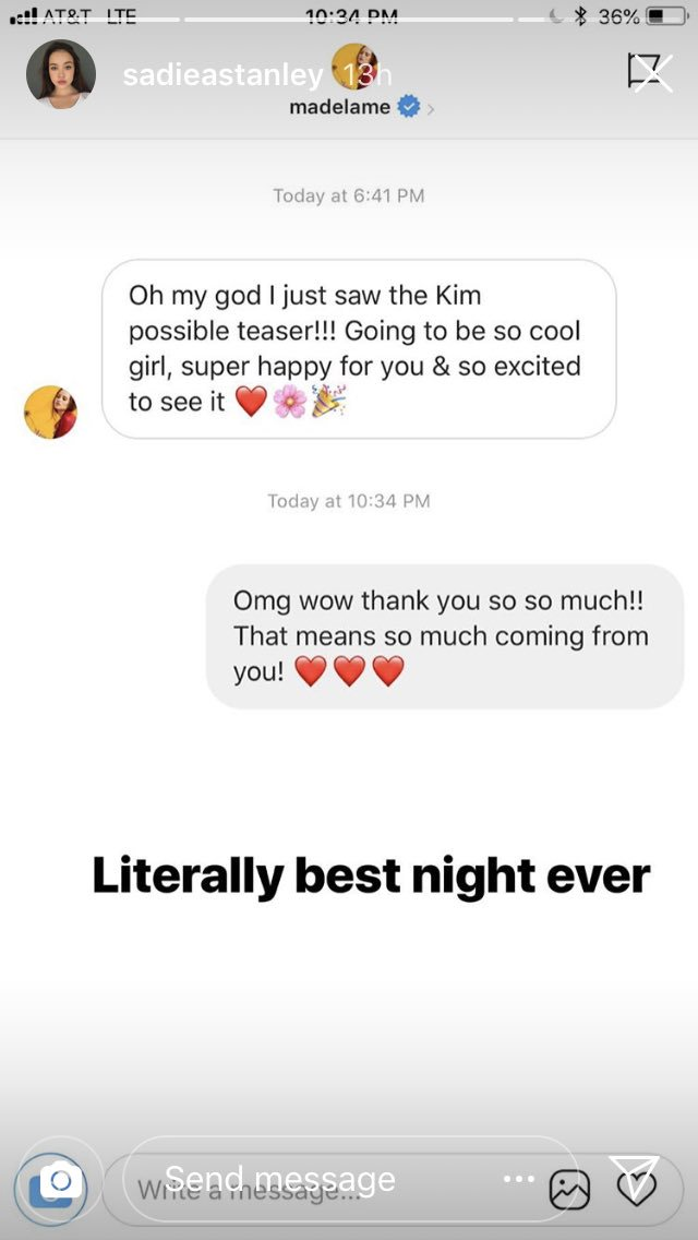 madelaine sadie instagram message