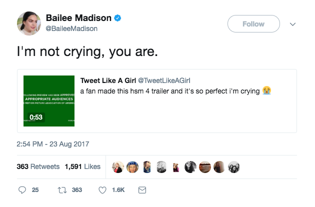 bailee madison hsm 4 tweet