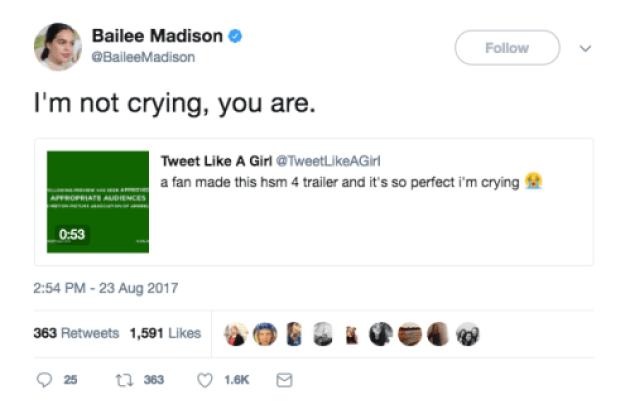 bailee madison hsm 4 tweet