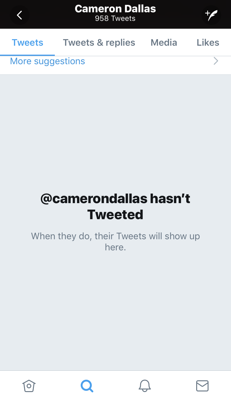 cameron dallas deletes tweets