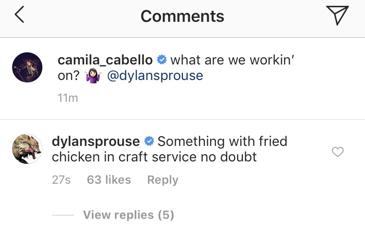 dylan sprouse camila cabello instagram comment