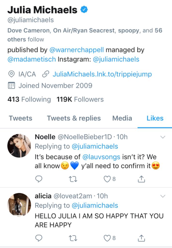 Julia Michaels Tweets 1