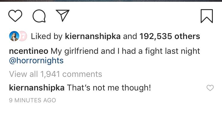 Kiernan Noah Instagram Comment
