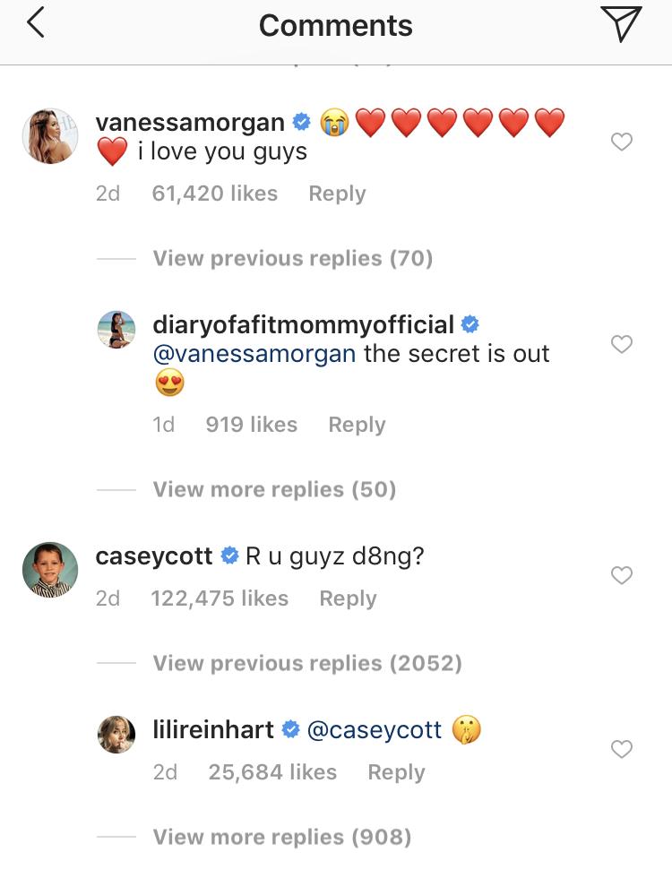 casey cott lili reinhart instagram comment