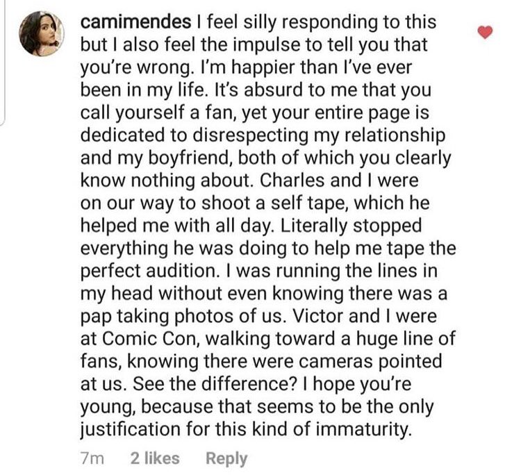 Camila Mendes Instagram Comment