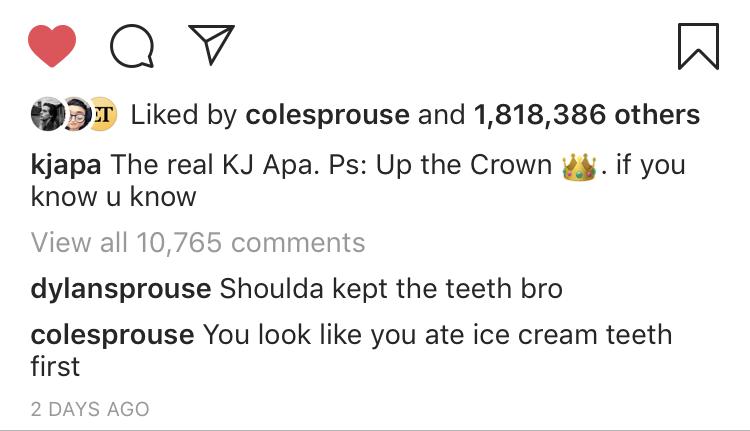 Dylan Cole KJ IG Comment