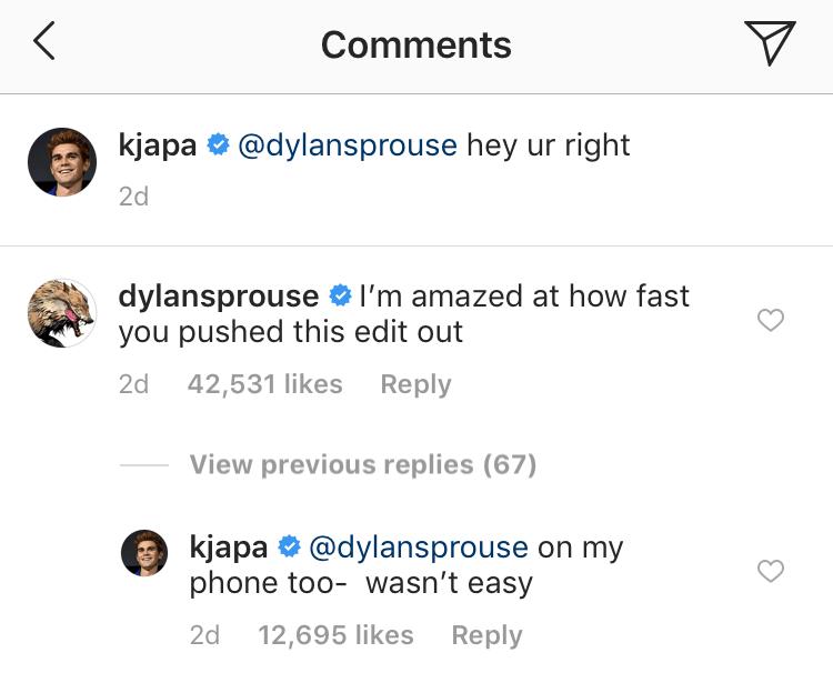 Dylan KJ Instagram Comments