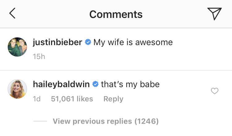 Justin Bieber Hailey Baldwin Instagram Comments