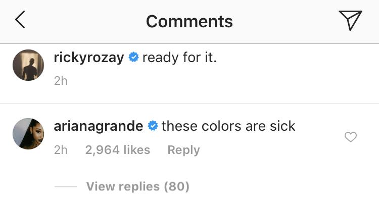 Ariana Grande Ricky Rozay Instagram Comment