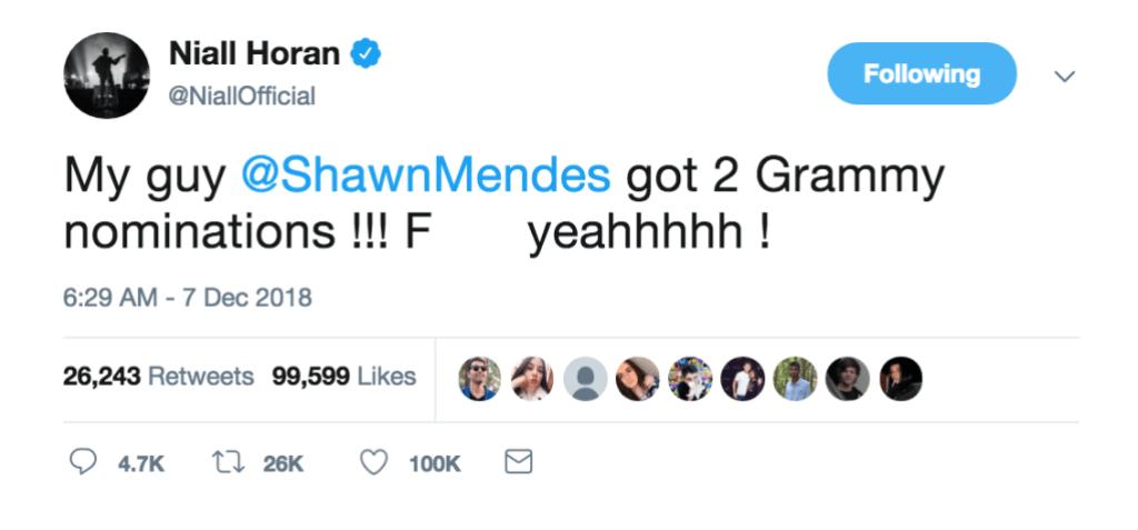Niall Horan Shawn Mendes Grammy Tweet