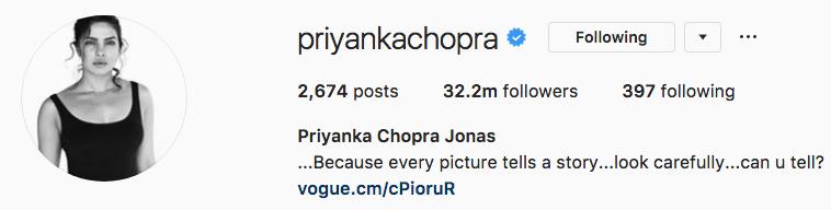 Priyanka Chopra changes Instagram name
