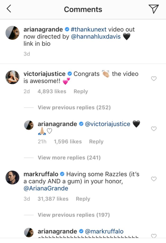 Victoria Justice Ariana Grande Instagram Comment