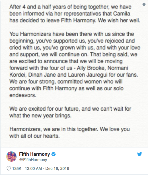 Fifth Harmony Tweet