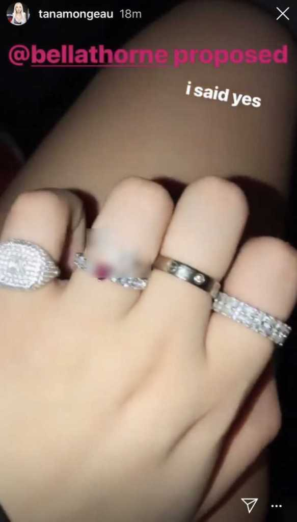 Tana Mongeau and Bella Thorne engagement ring