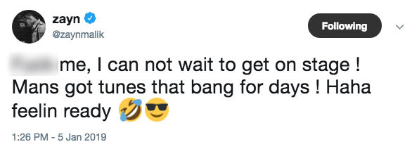 Zayn Malik Tour Tweet