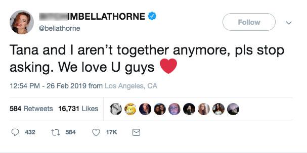 Bella Thorne Tweet
