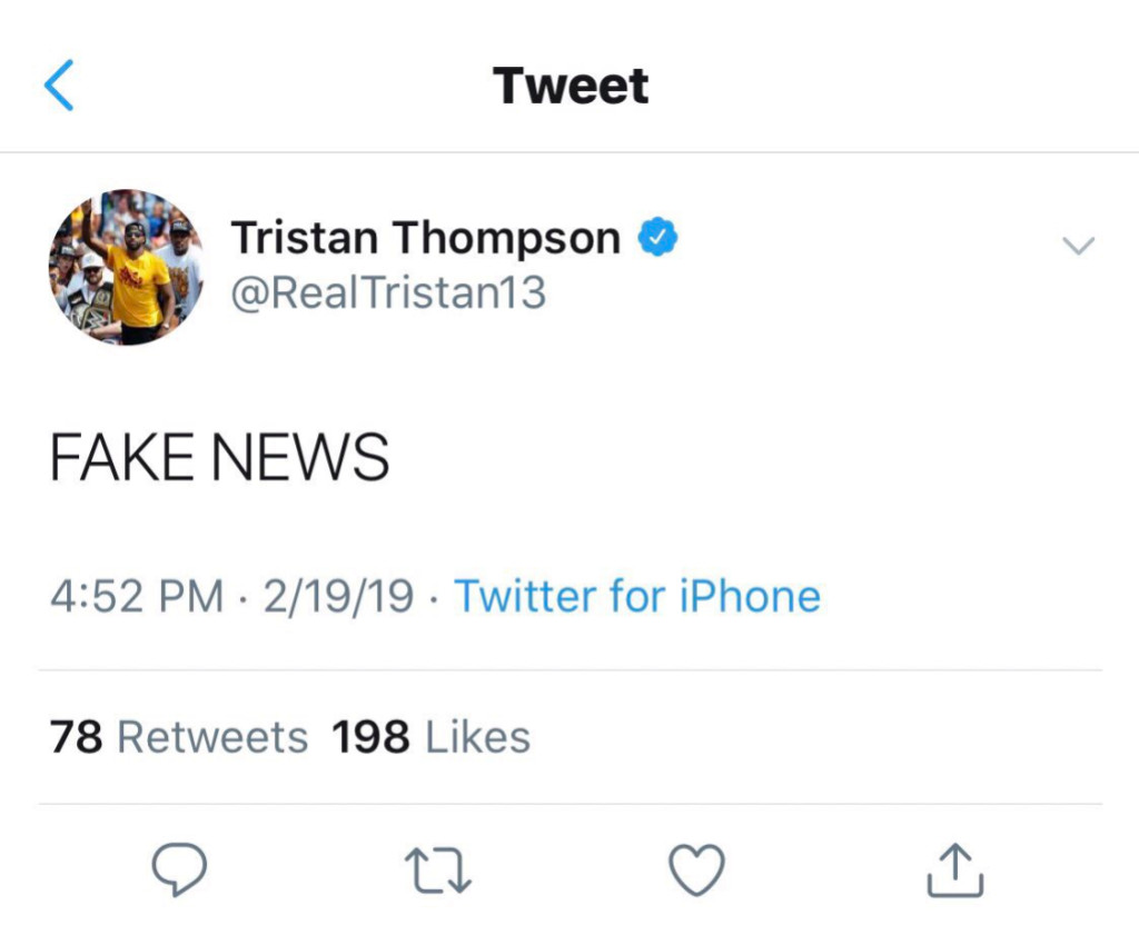 Tristan Thompson Tweet