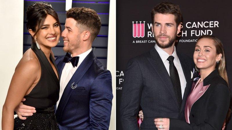 Nick Jonas Priyanka Chopra Liam Hemsworth Miley Cyrus Double Date