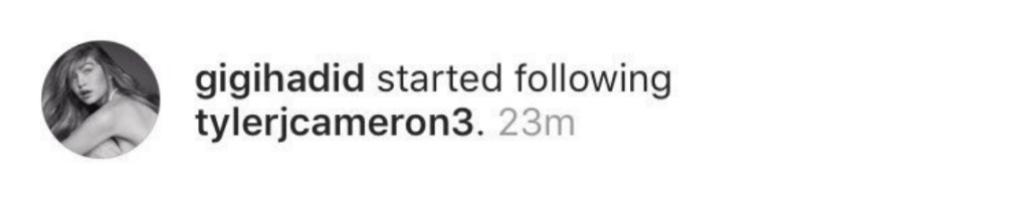 Gigi Hadid Follows Tyler Cameron
