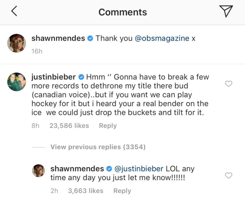 Justin Bieber Shawn Mendes comment
