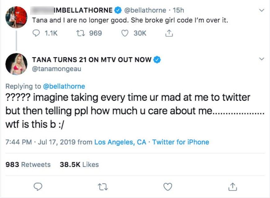 Bella Thorne Tana Mongeau Twitter Fight