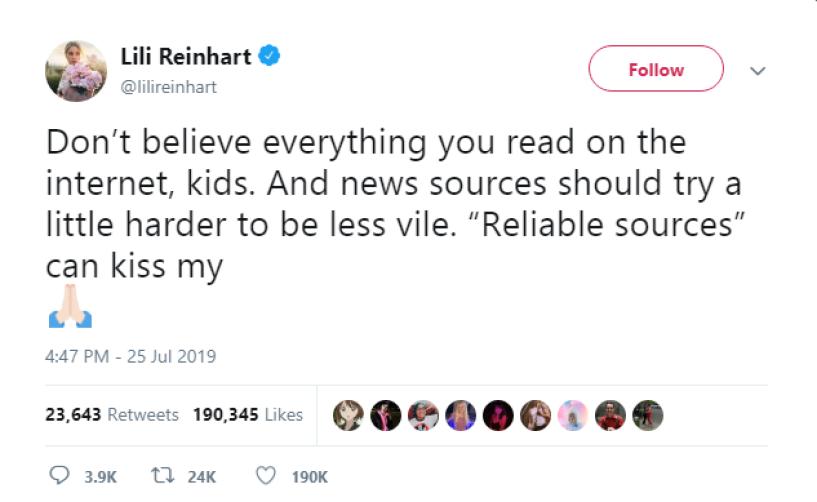 Lili Reinhart Tweet