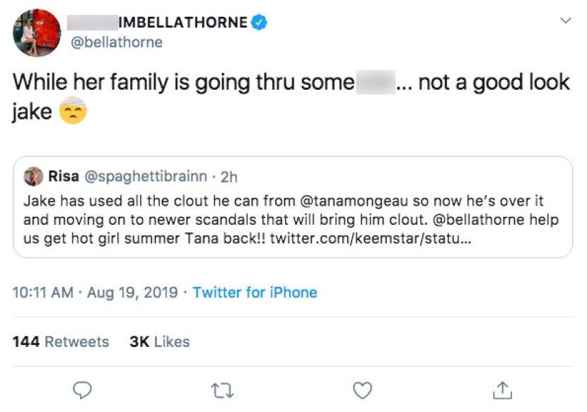Bella Thorne Tweet Tana Jake