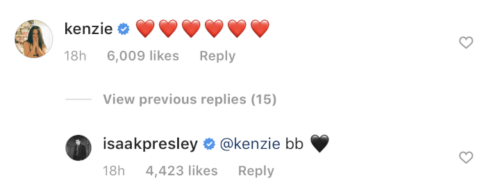 Kenzie Isaac Dating Comments
