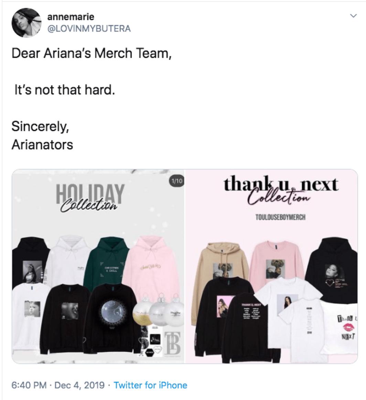 Ariana Grande Fans Drag Holiday Merch