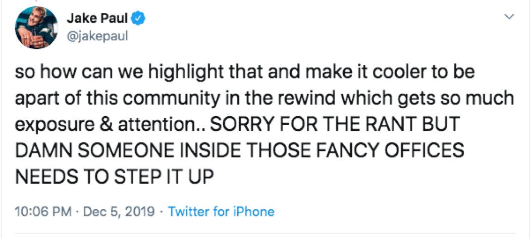 Jake Paul Slams YouTube Rewind