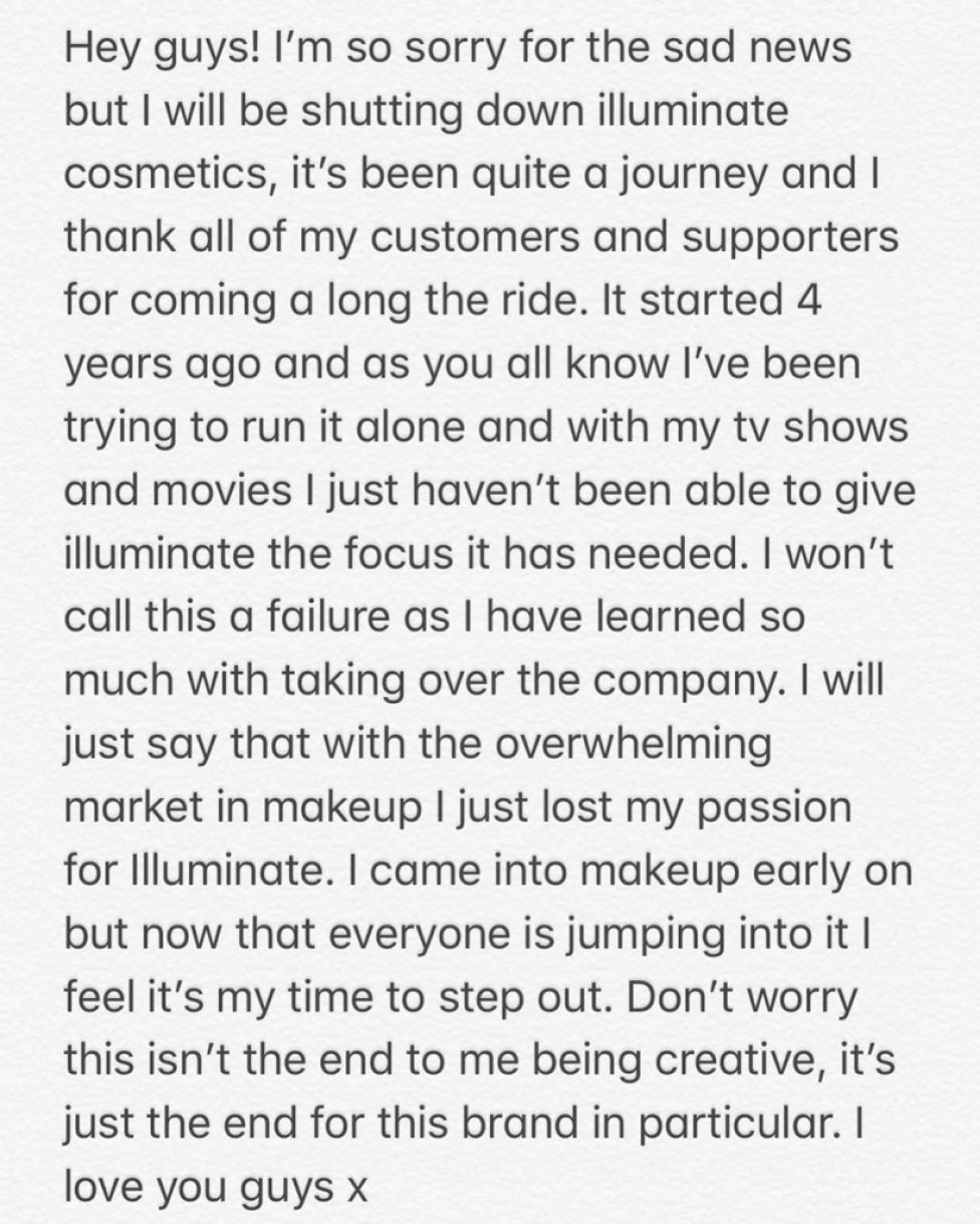 Ashley Tisdale Shuts Down Her Makeup Company 'Illuminate'