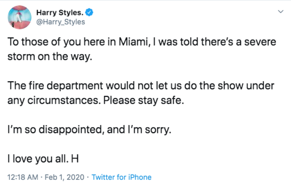Fans Devastated After Harry Styles Cancels Pre-Super Bowl Concert Due To Weather