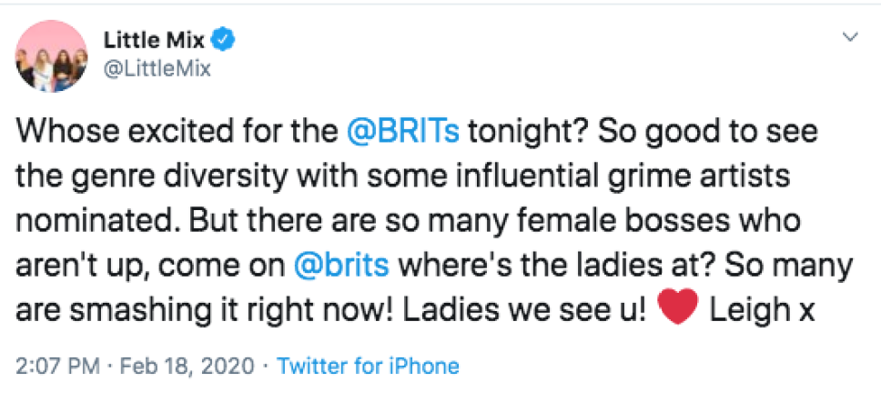 Little Mix Slams The Brit Awards, Criticizes Lack Of 'Female Bosses' Nominated