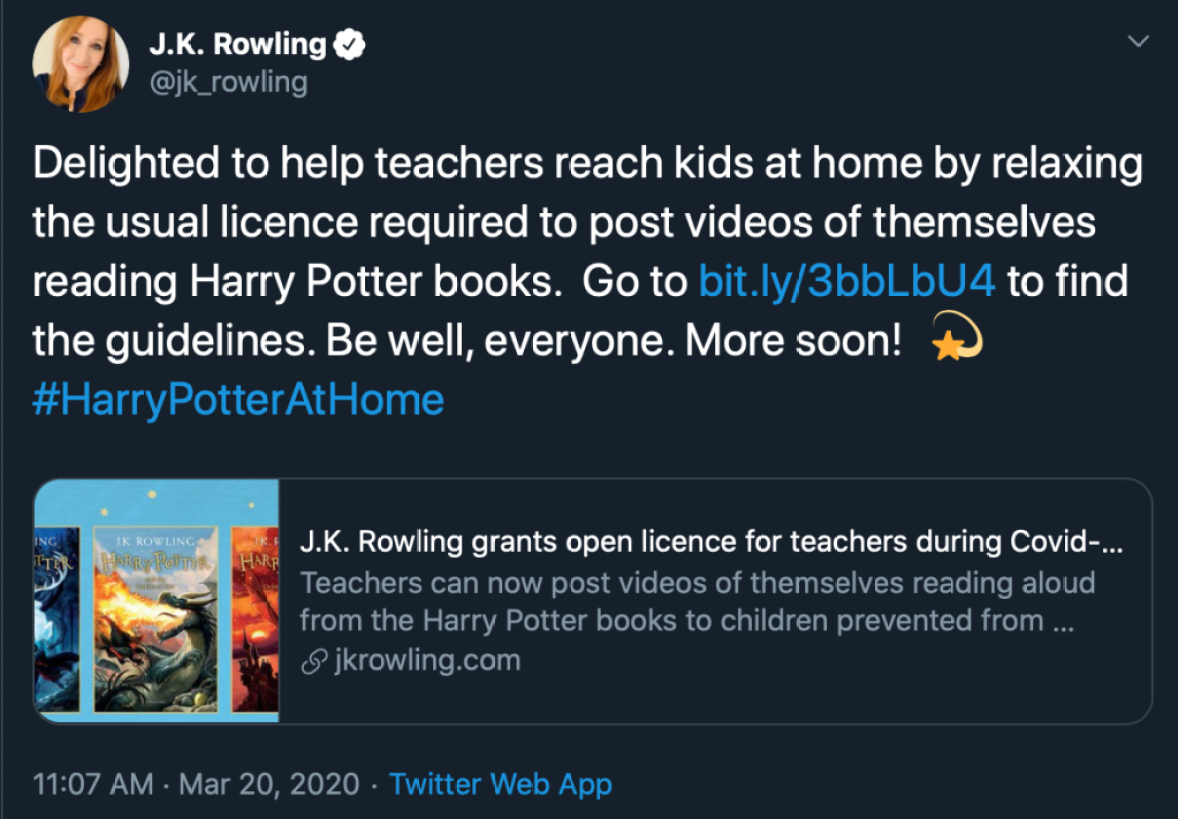 J.K. Rowling Allows Teachers To Read 'Harry Potter' During Coronavirus Pandemic