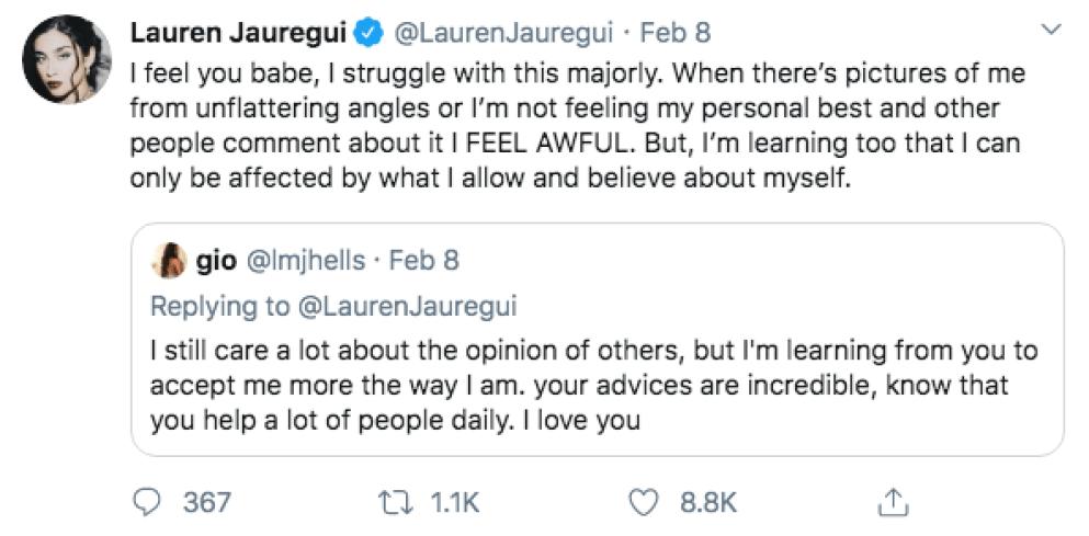Lauren Jauregui Lizzo Fat Tweets
