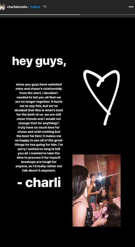 TikTok Stars Charli D'Ameilo & Chase Husdon Confirm Breakup, Ask For 'Privacy'