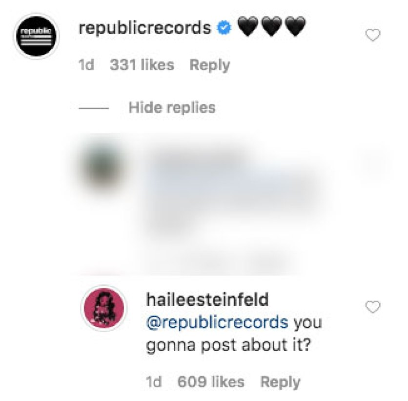 hailee steinfeld slams republic records label for not promoting music
