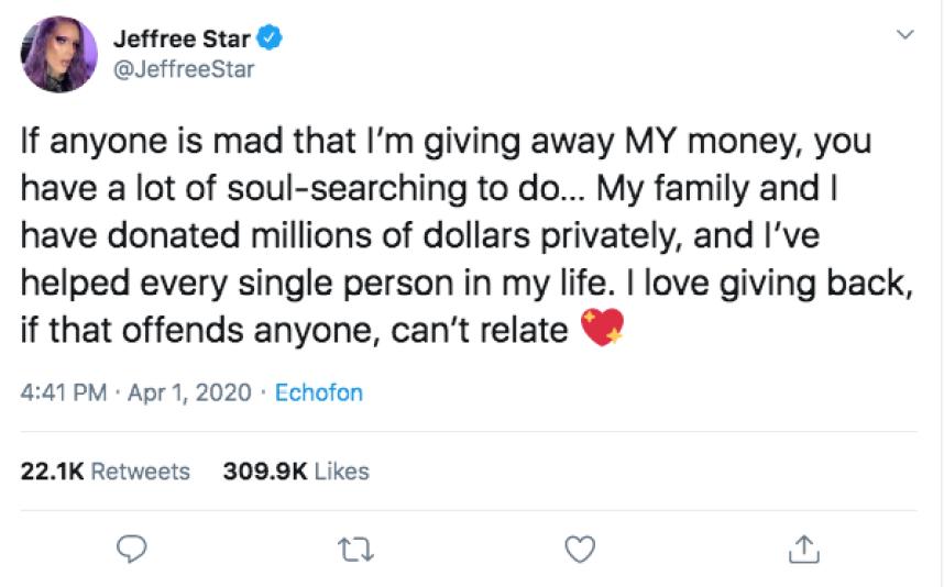 Jeffree Star Fires Back Donating Money